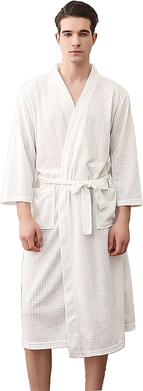 Mens Soft Linen Breathable Robe Lightweight Knit Skin-Friendly Bathrobe