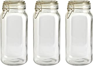 LAUNCH SALE 3 Rectangular Glass Food Storage Jars With Stainless Steel Clip (2300 ml) by Wylder