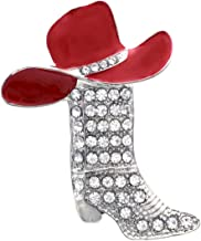 Soulbreezecollection Lucky Western Cowboy Boots & Red Hat Charm Brooch Pin Red Enamel Jewelry