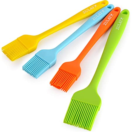 Zulay (Set of 4) Pastry Brush - Heat Resistant Silicone Basting Brush With Soft Flexible Bristles - Assorted Basting Brush Ideal For BBQ, Marinating, or Spreading Butter & Oil