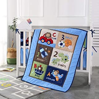 Wowelife Blue Crib Bedding Sets for Boys 7 Piece Travel Car and Airplane for Baby(Little Pilot)