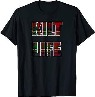 Mens Kilt Life T Shirt Red Green Plaid Shirt Stewart Tartan