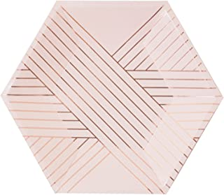 Pale Pink w Rose Gold Striped Small Paper Plates - Birthday, Wedding, Showers Disposable Party Plates - Harlow & Grey Amethyst (8 Count)