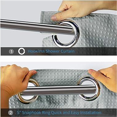 ARICHOMY Shower Curtain Set Waffle Weave Curtain (Light Grey)