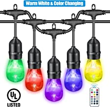 VAVOFO 48FT Warm White & Color Changing Outdoor String Lights, Dimmable LED Heavy Duty Hanging Patio String Lights Indoor, Commercial Grade, Waterproof, Wireless, UL LISTED