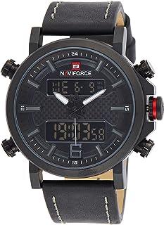 ساعة انالوج كلاسيكية بمينا اسود وسوار من الجلد الطبيعي للرجال من نافي فورس - NF9135-BGYB