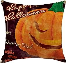 Shan-S Cotton Linen Square Throw Pillow,Halloween Pumpkin Washable Cover Pillowcases Decorative for Home Car Sofa Cushion Cover Decor,18x18 inch