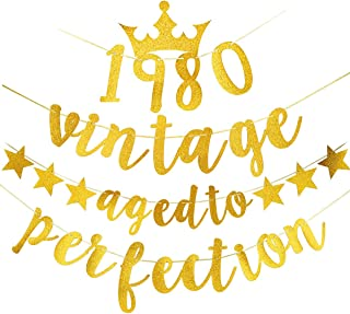 Gold 40th Birthday Banner - Glitter Vintage 1980 Aged to Perfection Banner - 40th Birthday or Anniversary Party Decorations Supplies for Women & Men