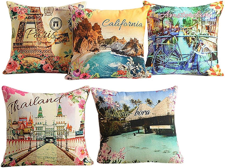 5 x Yuga Printed Sofa Pillow Case Home Decorative 100% Cotton Cushion Cover  16 x 16 Inch