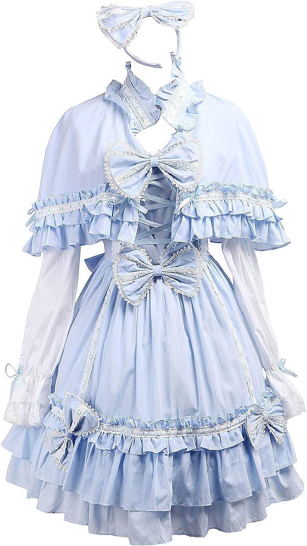 Antaina bluee Cotton Bows Ruffle Sweet Victorian Lolita Dress with Cape Headware