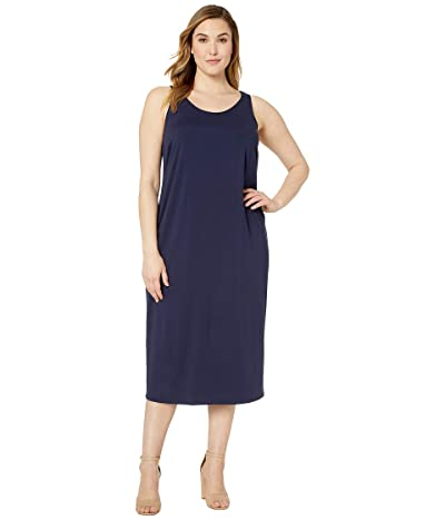Eileen Fisher Plus Size Viscose Jersey Scoop Neck Dress (Midnight) Women