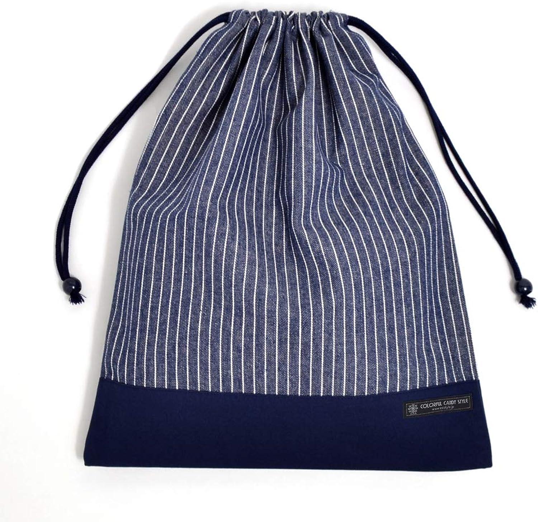 Wechsel der Kleidung leicht Geldbeutel (Groformat), Fitnessraum Kleidersack Nadelstreifen indigo x Leinwand, dunkelblau in Japan N3347000 (Japan-Import) gemacht