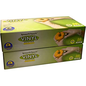 200 Disposable Vinyl Gloves, Non-Sterile, Powder-Free, Smooth Touch, Food Service Grade, Medium Size [2x100 Pack]