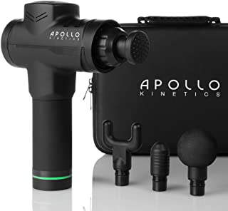 Apollo Kinetics Pulse Massage Gun Portable Electric Deep Tissue Percussion Muscle Massager Drill, Hand Held Cordless Design, Full Body Pain Relief Recovery Stimulator, 4 Heads & Carry Case Included