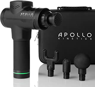 Apollo Kinetics Portable Electric Deep Tissue Percussion Massage Gun - Hand Held Cordless Design Full Body Muscle Massager Drill, Pain Relief Recovery Stimulator, Carry Case & 4 Heads Included