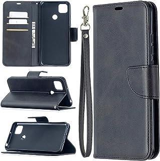 電話のレザーケース Xiaomi Redmi 9cのレトロなラムキンのテクスチャ純粋な色の水平フリップPUレザーケースホルダー&カードスロット&財布&ストラップ (Color : Black)