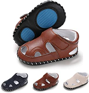 Infant Baby Boys Girls Summer Sandals Anti-Slip Rubber Sole First Walkers Crib Shoes(11cm,0-6 Months M US Infant,B-Brown
