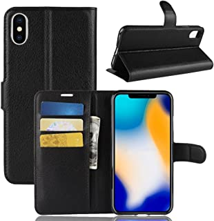 iPhone Xs Max Wallet Case,PU Leather Phone Case [Card Slot] [Flip] [Stand] Carry-All Case [TPU Interior Protective Case] [Magnetic Closure] for iPhone Xs Max, Black