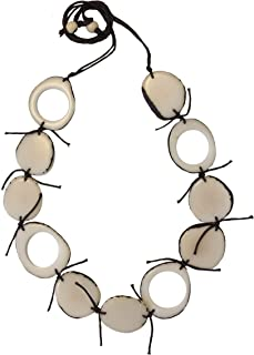Indigenous Ivory Palm (tagua Seed) Necklace Handmade in Colombia undyed Vegan Cruelty Free (Hole in The Moon)