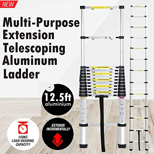 popular Aluminum Telescopic Extension Ladder 12.5 feet EN131 outlet sale Certified Extendable Telescoping Steps 2021 with Spring Load Locking Mechanism Non-Slip 330 lb Max Capacity outlet online sale