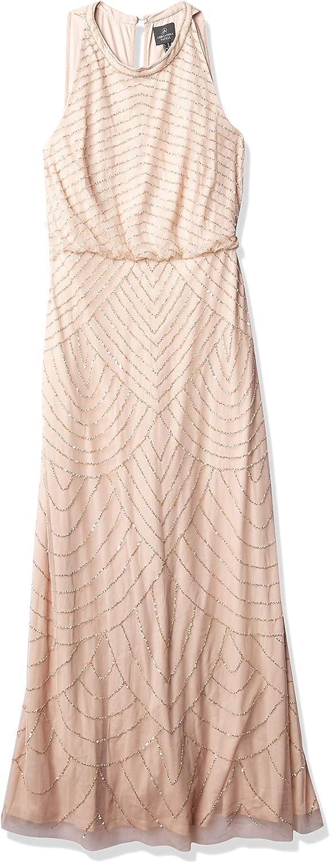 Adrianna Papell Women's Art Deco Beaded Blouson Dress with Halter Neckline