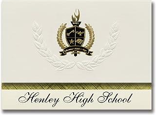 Signature Ankündigungen Henley High School (hergottskraut fällt, oder) Graduation Ankündigungen, Presidential Stil, Elite Paket 25 Stück mit Gold & Schwarz Metallic Folie Dichtung B078VDM689  Schöne Farbe