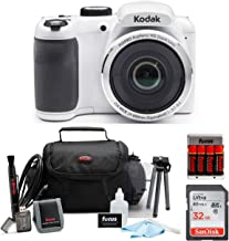 KODAK PIXPRO AZ252 Astro Zoom Digital Camera (White) with 32GB Card, Case, Accessory kit, and Rechargeable Batteries