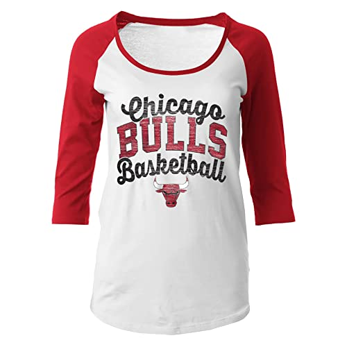 NBA Chicago Bulls Women s 100% Cotton Baby Jersey 3 4 Sleeve Scoop Neck Tee 71fed86e0b
