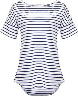 Women's Casual Raglan Short Sleeve Patchwork Striped Cotton Shirts Loose T-Shirt Tunic Tops