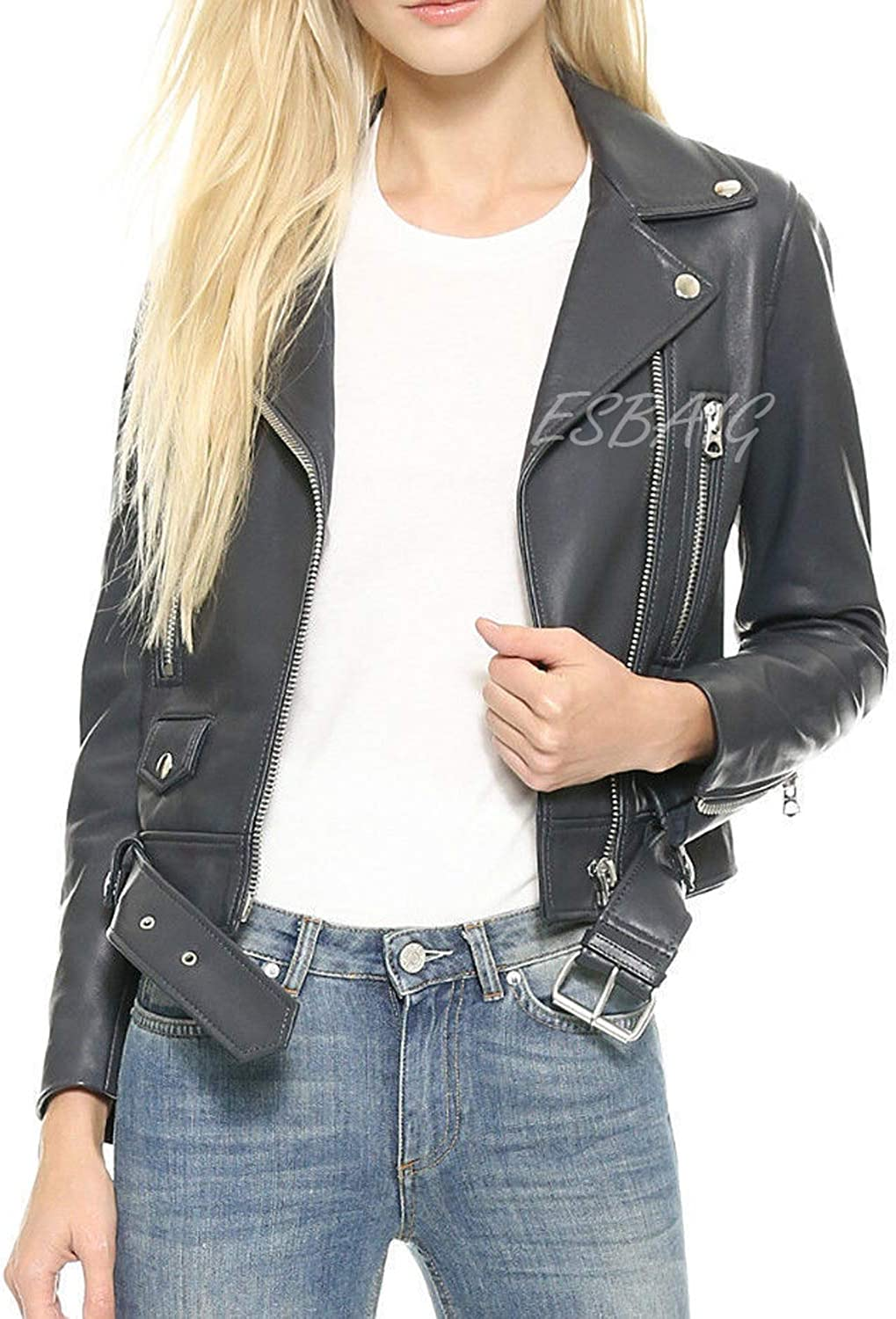 ESBAIG Womens Leather Jackets Stylish Motorcycle Bomber Biker Real Lambskin Leather Jacket for Women 520