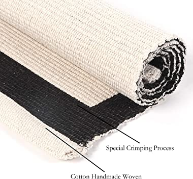 LEEVAN Cotton Print Area Rug 2' x 4.3' Black&White Striped Doormat Machine Washable Woven Fabric Non-Slip Doormat for Kitchen