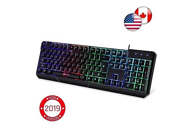 ... Led Rainbow Lighting - Backlit, Ergonomic, Quiet, Water Resistant - Black RGB PC Windows PS4 Mac Keyboards - Teclado Gamer Silent Keys with Light Color