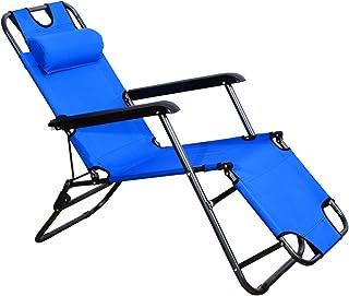 comprar comparacion Outsunny Tumbona con Almohada Reclinable y Plegable de Jardín Exterior Piscina Terraza Camping - Color Azul - Tela Oxford ...