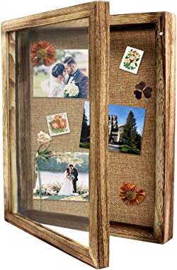 OurWarm 11 x 14 Shadow Box Display Case, Shadow Box Picture Frame Rustic Wood Memory Box with Linen Background and 10 Stick P