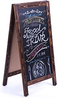 4 THOUGHT A-Frame Chalkboard Sign 40 x20 Inches, Rustic Wooden Freestanding Sidewalk Sign, Vintage Double-Sided Sign Board for Restaurant Shop Wedding Party, Walnut
