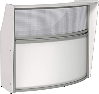 Linea Italia Curved Reception Desk, Single Unit, Clear Panel, White Laminate, Modern Office Lobby, Perfect for Small Spaces, Receptionist, Secretary