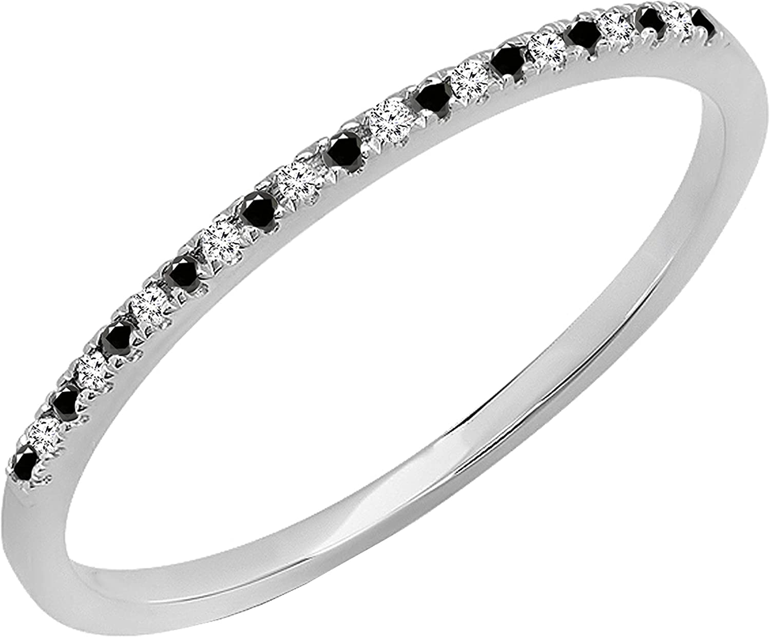 Dazzlingrock Collection 0.08 Carat (ctw) Round Black & White Diamond Dainty Anniversary Stackable Wedding Band, Available Metal in 10K/14K/18K Gold