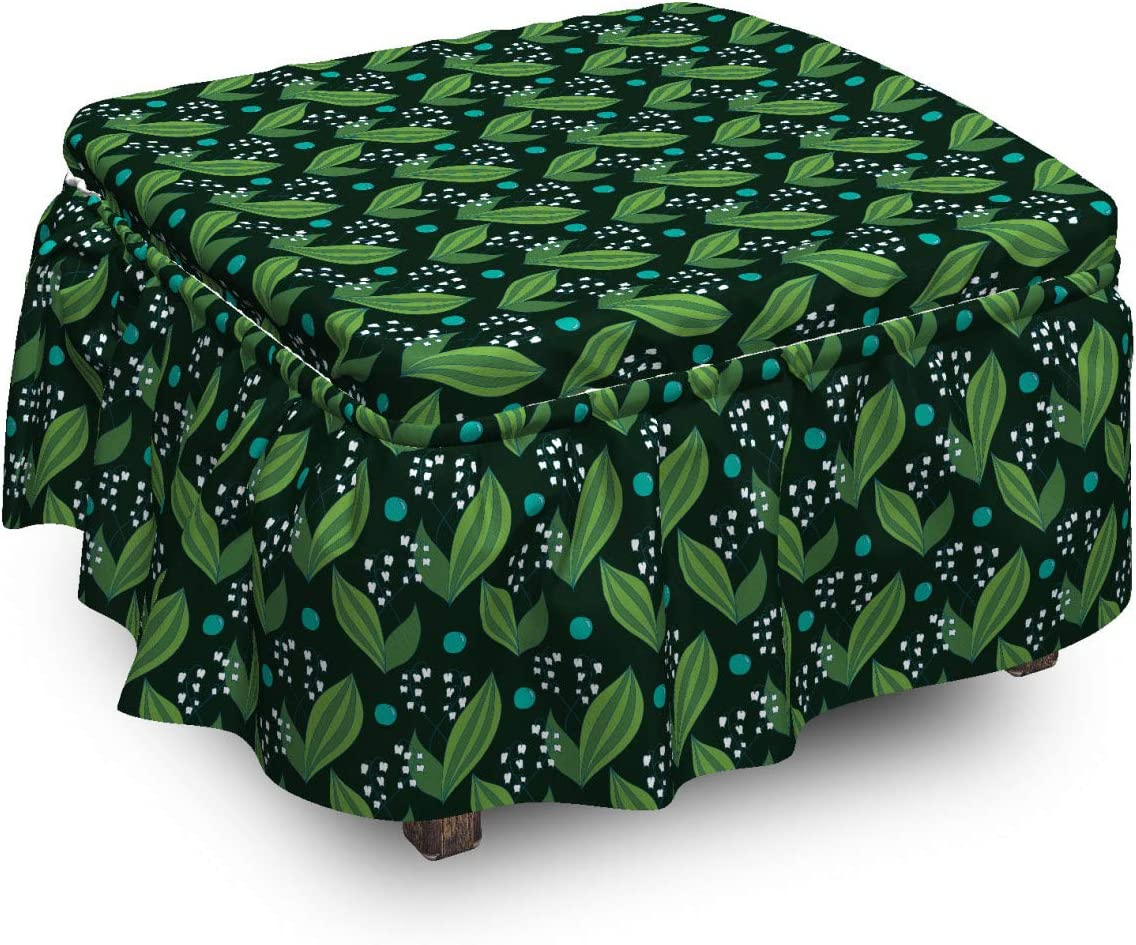 Lunarable Leaves Ottoman Cover Spring Max 47% OFF with Foliage OFFicial store Lilies Pi 2
