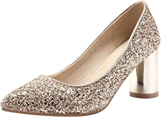 Mofri Women's Sequined Pointed Toe Pump - Low Cut Slip On Block High Heels Club Shoes
