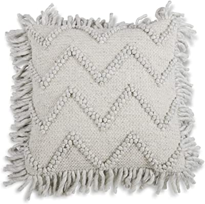 K&K Interiors 15520A Square Marble Knotted Pillow with Fringe, Wool & Viscose