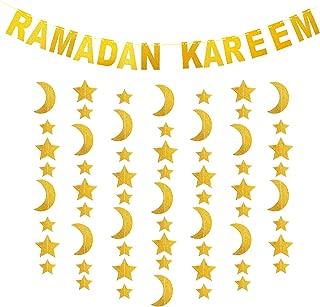 Syhood Gold Glitter Ramadan Decoration Set, Include Ramadan Kareem Banner and Moon Stars Shape Hanging Garland for Home Party Eid Mubarak Decorations Supplies