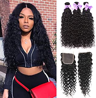 Water Wave Unprocessed Bundles With Closure Wet and Wavy Human Hair Weave 3 Bundles With Closure Laritaiya (18 20 22+16 closure, free part)