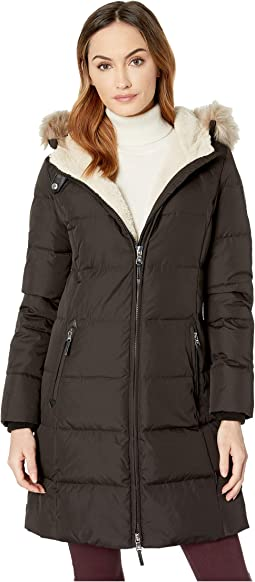 Faux Leather Trim Hooded Down w/ Berber