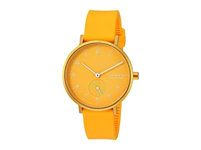 Skagen Aaren Kulor 36mm Three-Hand Silicone Watch (SKW2808 Yellow Silicone) Watches