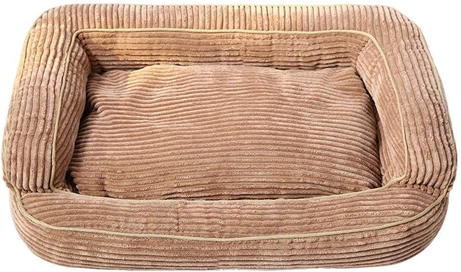 CHONGWFS Pet Dog Bed Warming Dog House Soft Material Pet Nest Dog Fall And Winter Warm Nest Kennel For Cat Puppy With (color   Khaki, Size   L)