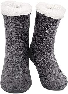 Womens Winter Soft Warm Cozy Fuzzy Fleece Lining Non-skid Socks Christmas Gift Knit Slipper Socks(US Size 5-8)