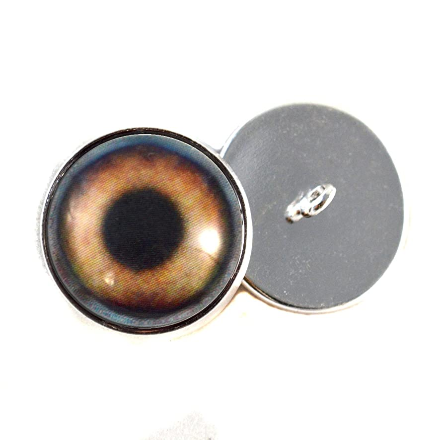Brown Dog Sew On Glass Eyes16mm Buttons with Loop for Crocheted Doll Stuffed Animal Soft Sculptures or Jewelry Making Crafts - Set of 2