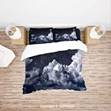 SCOXIXI 3D Bedding Sets Nocturnal Cloudy Astronomical Sky Space Telescope View of Stars Image Decorative (Comforter Not Included) Soft, Breathable, Hypoallergenic, Fade Resistant
