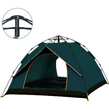 テント ワンタッチテント 3-4人用 通気性 防風防水 uvカット加工 アウトドア 収納バッグ 日本語説明書(グリーン)