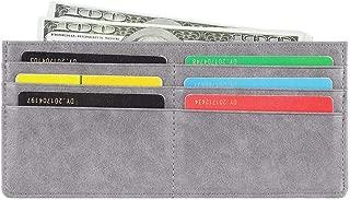 Women's Credit Card Wallet Slim Long Zipper Pocket Purse for Coin, Receipt, Cash Multi-Function Card Wallet for Women (Grey)
